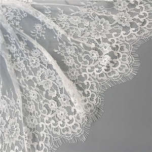 2018 New Design Wholesale Houlin fashion french swiss voile eyelash lace fabric for wedding dress lace J3081