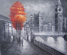 Modern oil painting trees London landscape