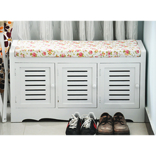 2018 High quality wooden crafts living room 2 tier three doors shoe rack storage bench