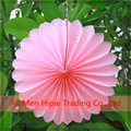 Pink hanging paper flower fan baby shower party decoration