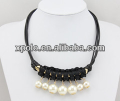 Wholesale black woven pearl charm statement necklace with gold plated