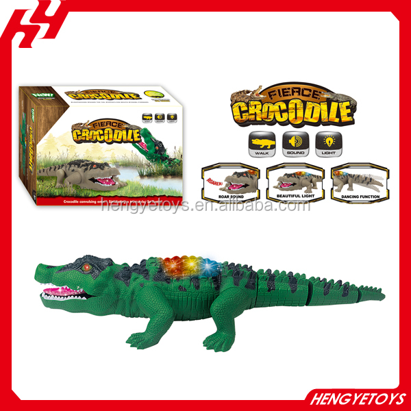 Hot electric crocodile toy battery operated alligator with moving jaws with lights and realistic sound