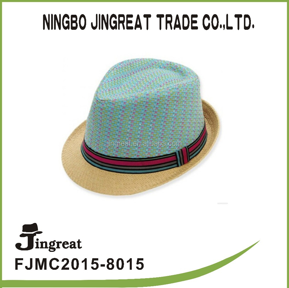 Multi color men's fedora hat fashion fedora straw hat