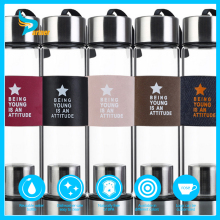 high-end borosilicate glass water bottle with tea infuser