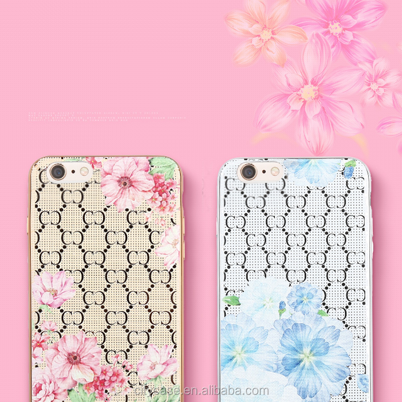 city&case Luxury flower fashion lady imitation leather mobile phone cover case soft for iPhone6 6plus