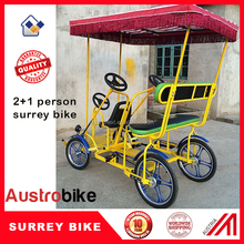 two person surrey bicycle with additional seat with roof and LED for Europe
