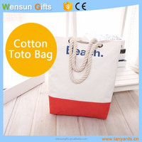 Organic Cotton canvas bag beach Tote bag rope handle