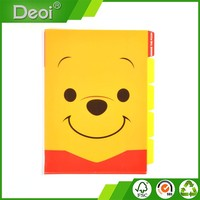 cute pp plastic pocket file folder with 5 index made in Shanghai
