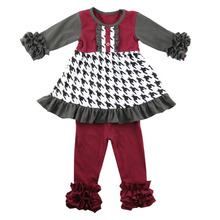Fancy baby outfit houndstooth print toddler clothes sets ruffle clothing winter girl