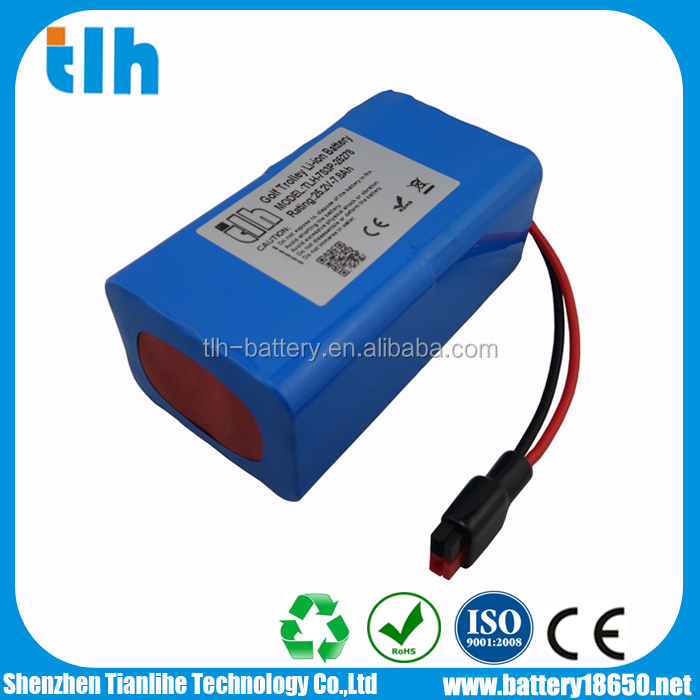 High quality 25.2V 7800mAh 18650 li ion battery for golf caddy with anderson connector