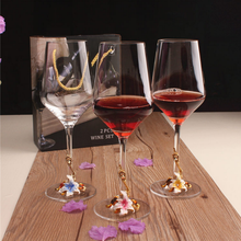 High quality lead-free crystal unique designed souvenir red wine glasses with clear