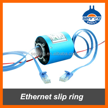 Ethernet slip ring 1 channel 1000M BaseT RJ45 2 circuits 5A with bore size 12.7mm