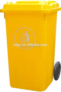240 liter pure HDPE rattan trash can plastic garbage bin with wheels mobile garbage can