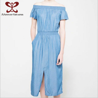 A Forever Fairness Latset New Design Summer Sexy Off Shoulder Jeans Dresses,Light Blue Pure Color Long Maxi Ladies Denim Dress