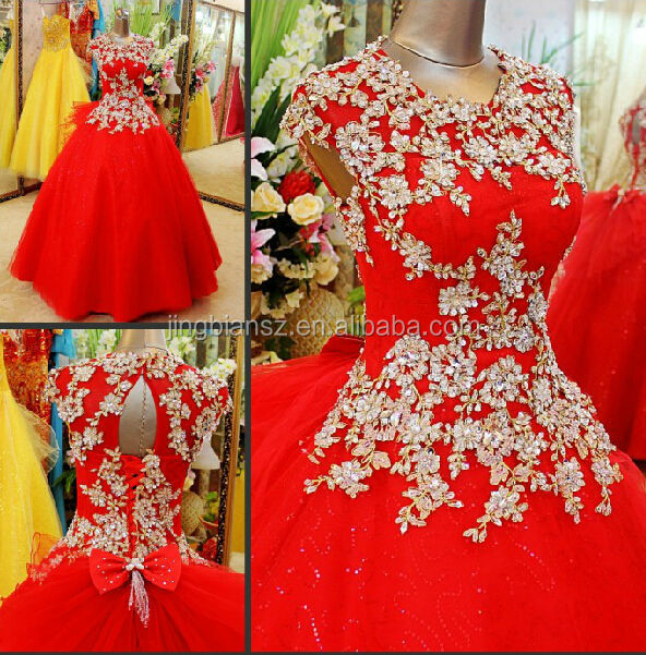 real sample popular design red ball gown crystal wedding gown #OW292