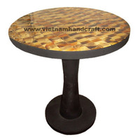 Quality eco-friendly traditionally hand finished vietnamese lacquer bamboo living room furniture with brown horn inlay