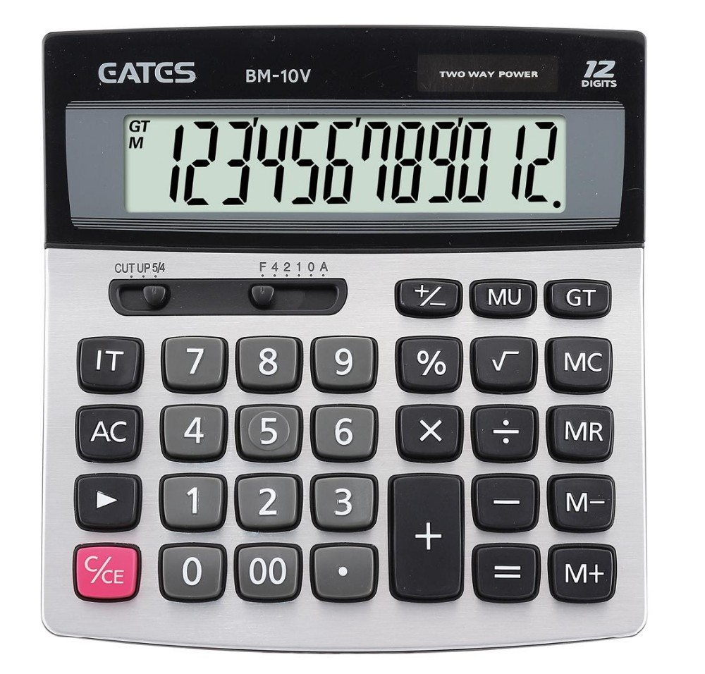 12 digits Solar and Electric Calculator Metal Panel