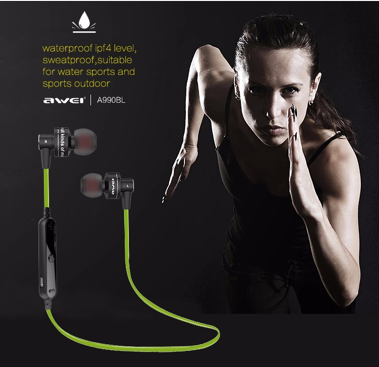 Awei A990BL Slim Extra light Mini Portable Wireless blluetooth Fashion Earphone