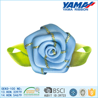 Hot sale nice satin ribbon artificial royal blue rose flowers