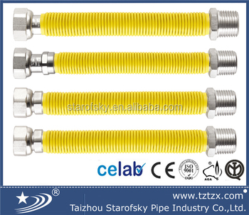 SUS304 Metal flexible expandable cooker gas hose PE coated