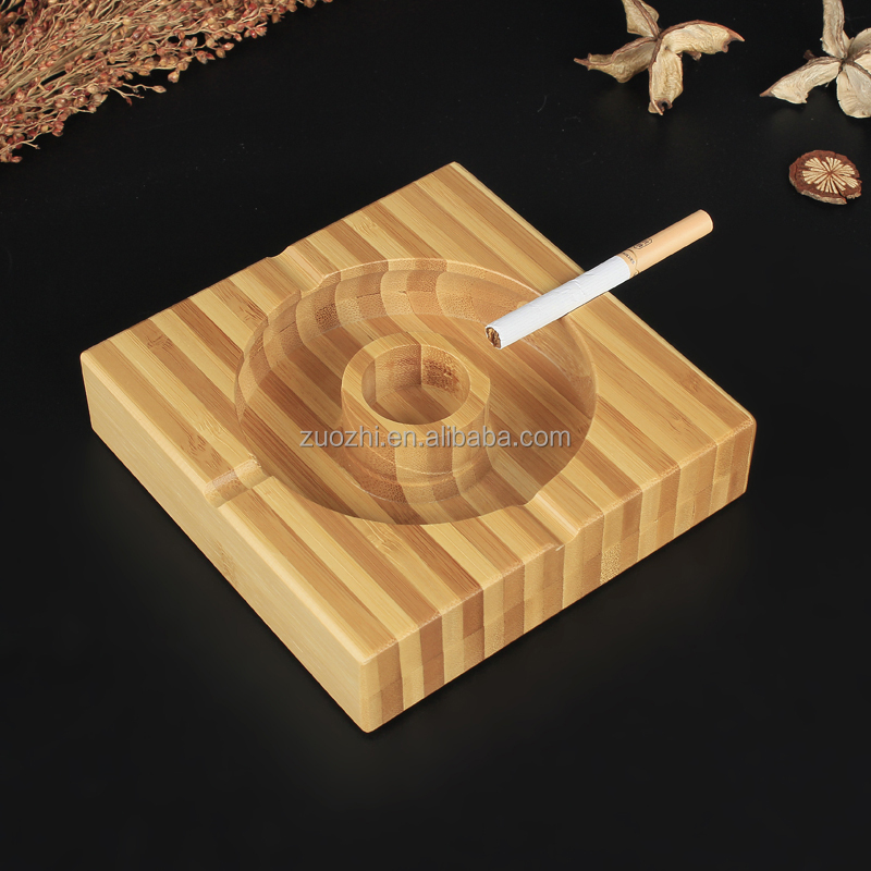Bamboo ashtray creative ashtray Square bamboo ash Cigar Cigarette Tobacco holder