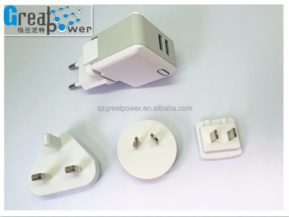 shenzhen interchangeable power adapter 5v2.4a max EU plug power supply wall mounted dual usb charger