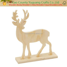 Unfinished Standing Wood Deer Figurine with Antlers