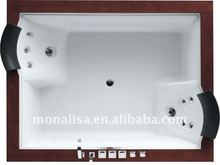 Monalisa 2 person corner freestanding stainless steel faucets LED lights acrylic bathtub M-2036A