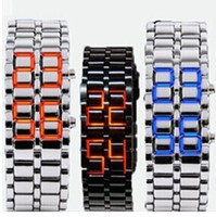 2014 hot sale Stainless steel back led watch iron samurai led lave watch