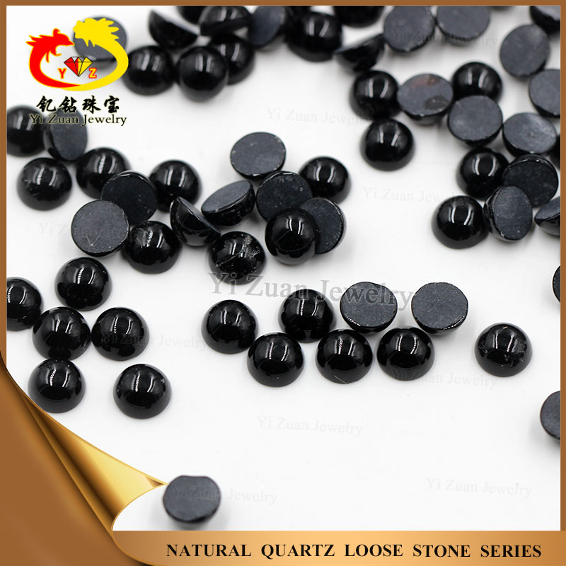 Wholesale lower price round shaped cabochon natural black agate stone