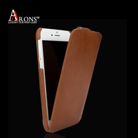 Up and down top grain genuine flip leather case for iphone 6/6s
