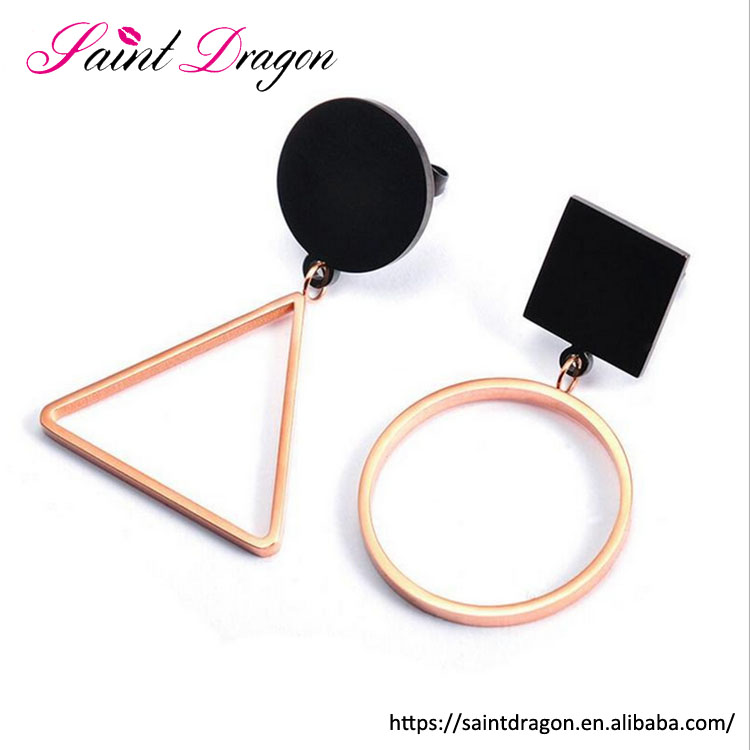 personality asymmetric stainless steel earring rose gold hypoallergenic triangle round shape stud earrings