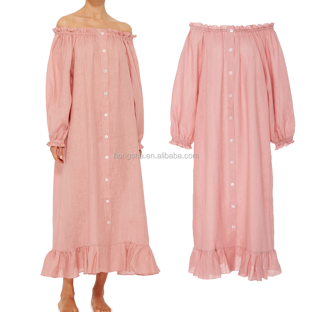 Pink Flattering Off The Shoulder Summer Lounge Wear Wholesale Cotton Pajamas Dress For Ladies Sleep wear 2017 HSP5867