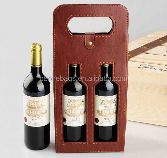 New Set of 2 Packed PU Leather Wine Bottle Carrier Wholesale