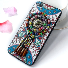Colorful acrylic soft TPU cover case national style rhinestone jewelry tassels mobile phone case for iphone 7 7plus 3d