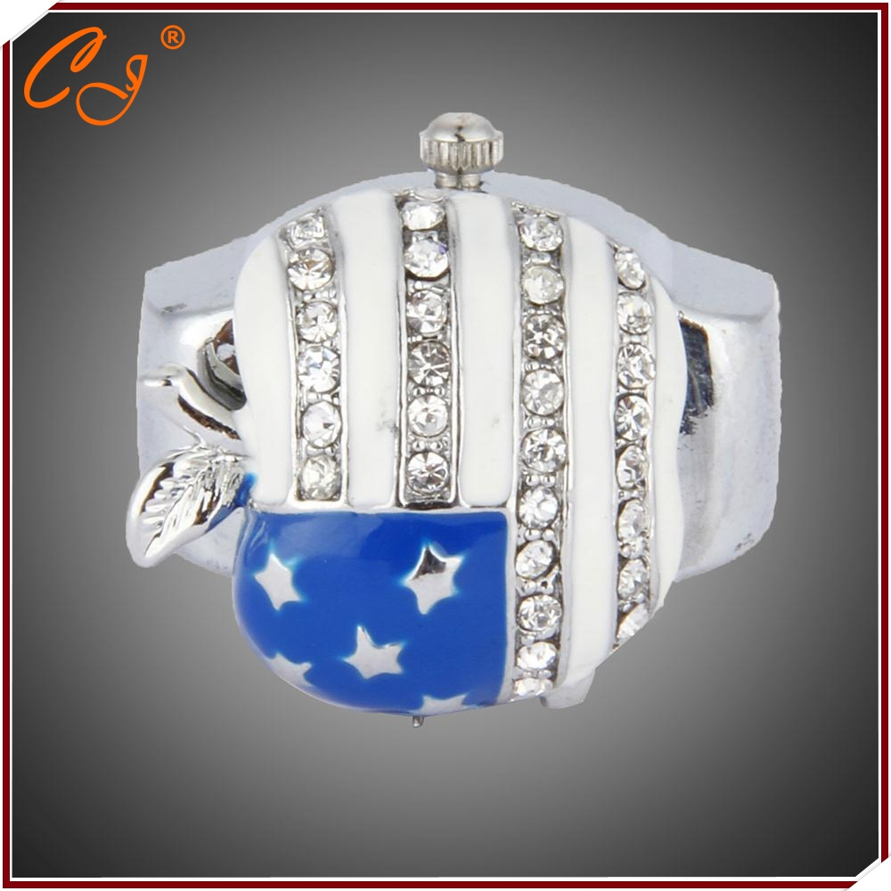 Fashion Personality Cool American Flag Five Star Gemstone Apart Apple Finger Ring Watch