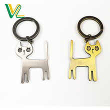 Customized Free Sample Die Casting Metal Cat Shape Anti-Silver Bronze O Ring Promotion Key Chain