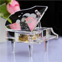 Hot sale custom crystal grand piano shape music box for wedding decoration