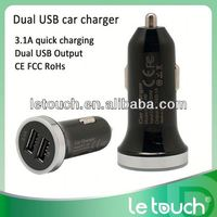 3.1A High Efficiency dual USB 9v 2a car charger for iphone/for ipad/for Samsung