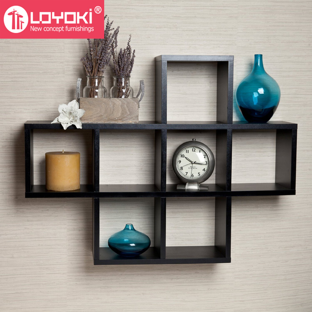 Home Wall Decor Cubby Laminate Display Intersecting Squares Decorative Mount Shelf Hot Wood Cube