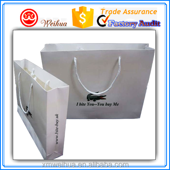 Matte white laminated thick cardboard Men's clothing paper shopping bag with white rope handle