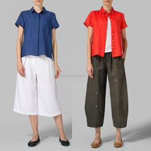 New Fashion Formal Women Linen Short Sleeve Mini-point Chinese Collar Shirt Tunic Ladies Tops Blouses