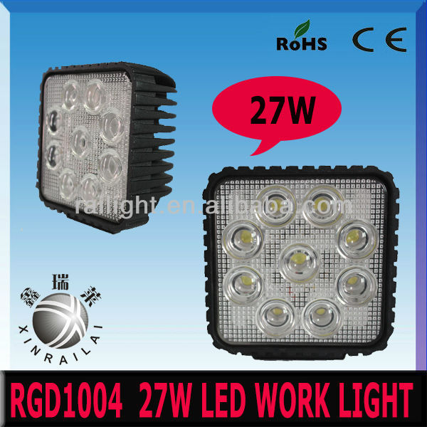 square epistar 27w led work lamp,9-32v ,2150lm .ip68 RGD1004 ,atv light bar accessories,truck suv 4wd off-road, led work light