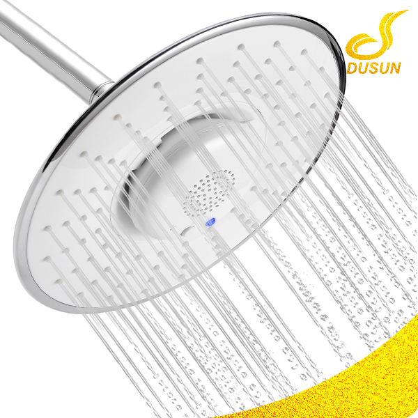 Wholesale bathroom chrome ABS plastic bluetooth speaker led music white top shower head