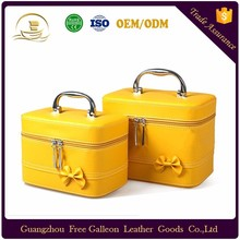 Factory price PU leather material Travel cosmetic bag box Ladies make up bag