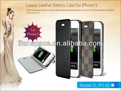 Hot!! New design 2013 backup leather battery case for iPhone5 5s OEM