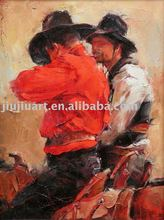 People painting canvas painting cowboy oil painting