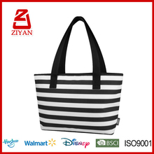 Horizontal Stripe Canvas Thermal Lined Lunch Cooler Bag