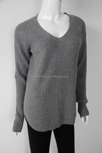 factory manufacturer rib knit v neck pure 100%cashmere sweater