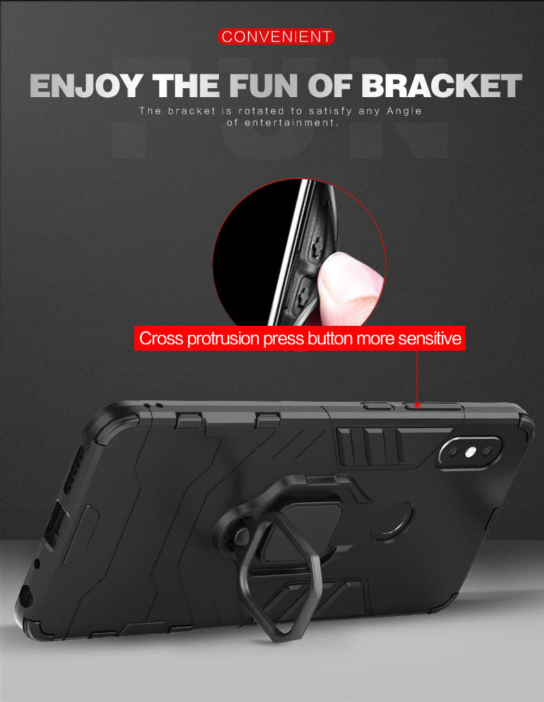 TPU PC metal ring holder mobile phone back cover case for xiaomi redmi note 5 pro